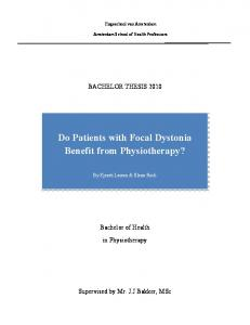 Do Patients with Focal Dystonia Benefit from Physiotherapy?
