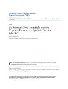 Do Stimulant-Type Drugs Help Improve Cognitive Function and Apathy in Geriatric Patients?
