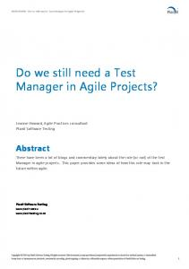 Do we still need a Test Manager in Agile Projects?