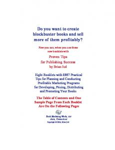 Do you want to create blockbuster books and sell more of them profitably?