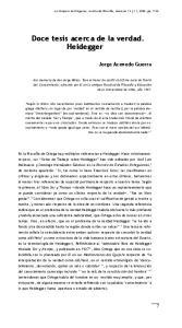 Doce tesis acerca de la verdad. Heidegger