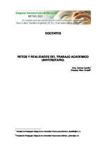 DOCENTES RETOS Y REALIDADES DEL TRABAJO ACADEMICO UNIVERSITARIO