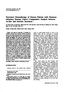 Docetaxel Chemotherapy of Korean Patients with Hormonerefractory Prostate Cancer : Comparative Analysis between 1st-line and 2nd-line Docetaxel