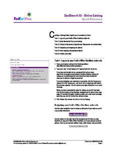 DocStore Online Catalog Quick Reference