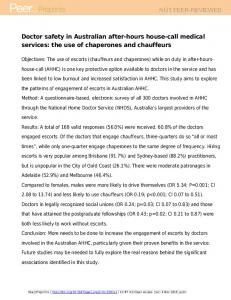 Doctor safety in Australian after-hours house-call medical services: the use of chaperones and chauffeurs