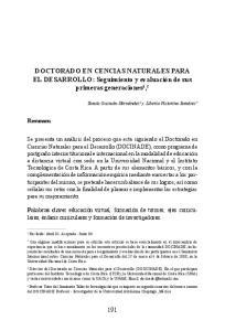 DOCTORADO EN CENCIAS NATURALES PARA EL DESARROLLO: Seguimiento y evaluación de sus primeras generaciones 1, 2
