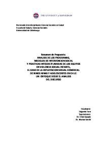 Doctorado Interdisciplinario Ciencias Sociales en Salud Escuela de Salud y Ciencias Sociales Universidad de Edimburgo