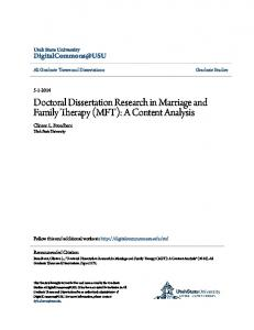 Doctoral Dissertation Research in Marriage and Family Therapy (MFT): A Content Analysis