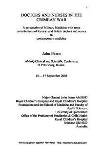 DOCTORS AND NURSES IN THE CRIMEAN WAR. John Pearn
