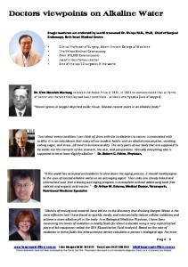 Doctors viewpoints on Alkaline Water