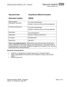 Document number: DN226 Clostridium difficile - Procedure. Staff involved in Development (job titles):