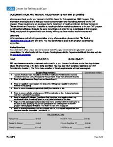 DOCUMENTATION AND MEDICAL REQUIREMENTS FOR EMT STUDENTS