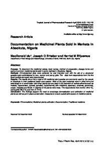 Documentation on Medicinal Plants Sold in Markets in Abeokuta, Nigeria