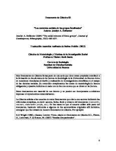 Documento de Cátedra 83. Los contextos sociales de los grupos focalizados Autora: Jocelyn A. Hollander