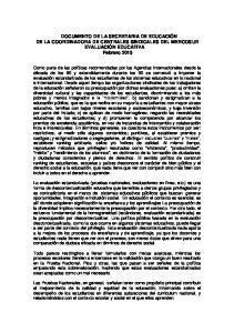 DOCUMENTO DE LA SECRETARIA DE EDUCACIÓN DE LA COORDINADORA DE CENTRALES SINDICALES DEL MERCOSUR EVALUACIÓN EDUCATIVA Febrero 2013