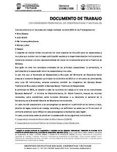DOCUMENTO DE TRABAJO 1ER CONGRESO PROVINCIAL DE COOPERATIVAS Y MUTUALES