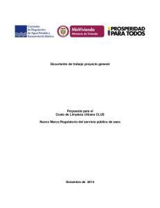 Documento de trabajo proyecto general Propuesta para el Costo de Limpieza Urbana CLUS