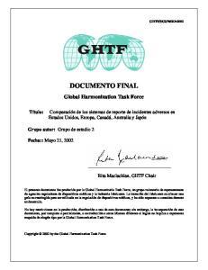 DOCUMENTO FINAL. Global Harmonization Task Force