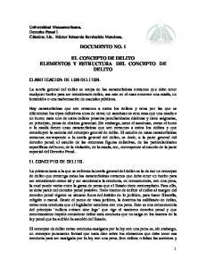 DOCUMENTO NO. 1 EL CONCEPTO DE DELITO ELEMENTOS Y ESTRUCTURA DEL CONCEPTO DE DELITO