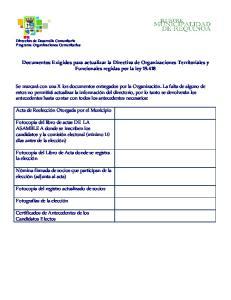 Documentos Exigidos para actualizar la Directiva de Organizaciones Territoriales y Funcionales regidas por la ley