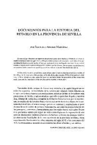DOCUMENTOS PARA LA HISTORIA DEL RETABLO EN LA PROVINCIA DE SEVILLA