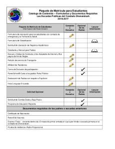 Documentos requisitos de los padres o escuelas anteriores