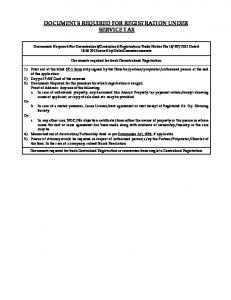 DOCUMENTS REQUIRED FOR REGISTRATION UNDER SERVICE TAX Appendix 15 Documents Required For Registration