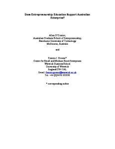 Does Entrepreneurship Education Support Australian Enterprise?