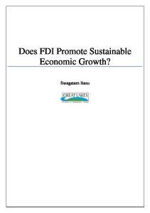 Does FDI Promote Sustainable Economic Growth? Swagatam Basu