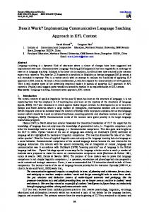 Does it Work? Implementing Communicative Language Teaching. Approach in EFL Context