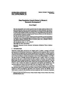 Does Population Growth Matter in Bhutan s Economic Development? Komol Singha *