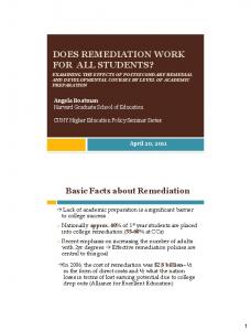 DOES REMEDIATION WORK FOR ALL STUDENTS?