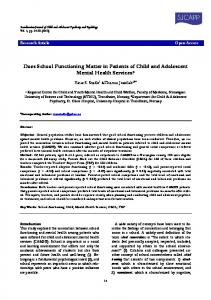 Does School Functioning Matter in Patients of Child and Adolescent Mental Health Services?