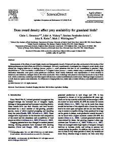 Does sward density affect prey availability for grassland birds?