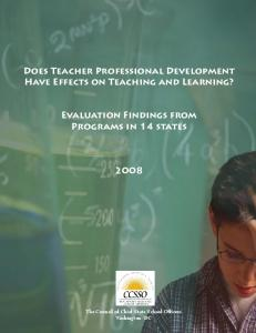 Does Teacher Professional Development Have Effects on Teaching and Learning? Evaluation Findings from Programs in 14 states