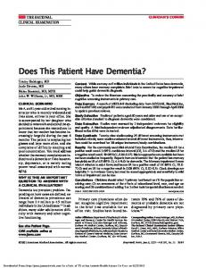 Does This Patient Have Dementia?