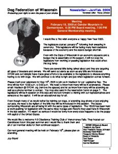 Dog Federation of Wisconsin Protecting your right to own the pets of your choice