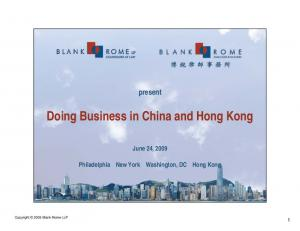 Doing Business in China and Hong Kong