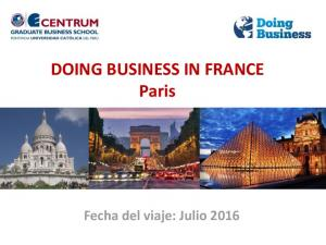 DOING BUSINESS IN FRANCE Paris