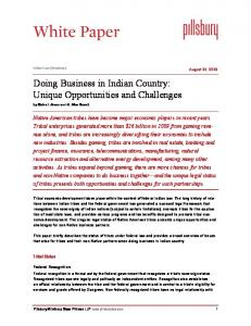 Doing Business in Indian Country: Unique Opportunities and Challenges