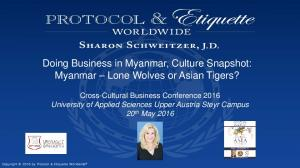 Doing Business in Myanmar, Culture Snapshot: Myanmar Lone Wolves or Asian Tigers?