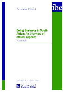 Doing Business in South Africa: An overview of ethical aspects
