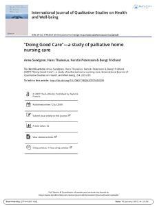 Doing Good Care a study of palliative home nursing care