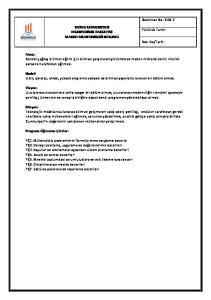 Doküman No: BLM-7 İNÖNÜ ÜNİVERSİTESİ MÜHENDİSLİK FAKÜLTESİ MADEN MÜHENDİSLİĞİ BÖLÜMÜ