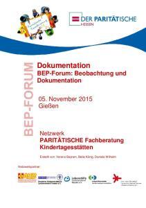 Dokumentation BEP-Forum: Beobachtung und Dokumentation
