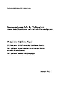 Dokumentation der Opfer der NS-Herrschaft in der Stadt Hameln und im Landkreis Hameln-Pyrmont