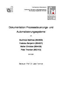 Dokumentation Prozesssteuerungs- und Automatisierungssysteme