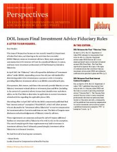 DOL Issues Final Investment Advice Fiduciary Rules