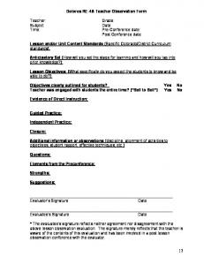 Dolores RE-4A Teacher Observation Form. Pre-Conference date: Post Conference date: