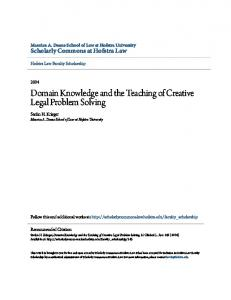 Domain Knowledge and the Teaching of Creative Legal Problem Solving